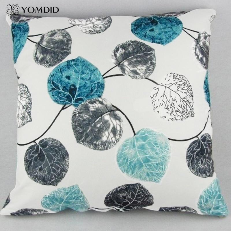 Blue Red Leaves Cushion Cover Soft Quality Pillow Case Decorative Pillows Cover For Home Sofa Car Almofadas Cojin 45*45 Cm
