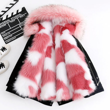 купить Kids Fur Coat for Girls Fur Collar Outerwear In Kids Boys Faux Fox Fur Jackets Girls Fur Outerwear Winter Children Clothes дешево