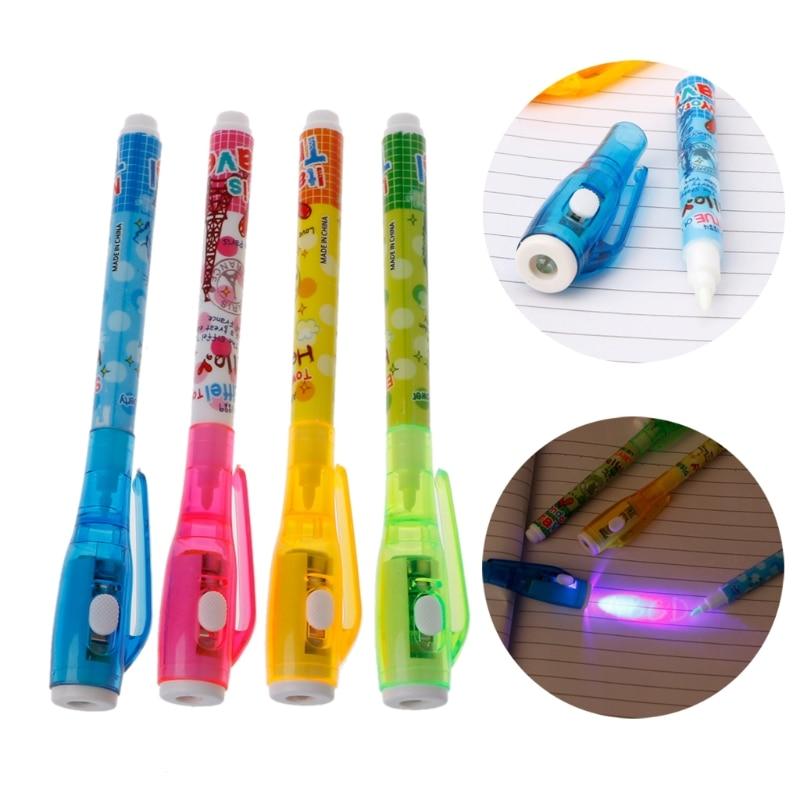 4 шт., невидимая чернильная ручка, шпионская ручка, светильник, магический маркер, детская ручка для секретных сообщений, Забавный маркер, шк...