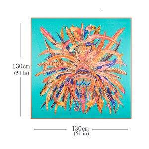 Image 5 - LESIDA 100% Donne Sciarpa di Seta di Grandi Scialli di Stampa Della Piuma Stole Piazza Bandana Fazzoletto Sciarpa di Marca di Lusso Femminile Foulard 1306
