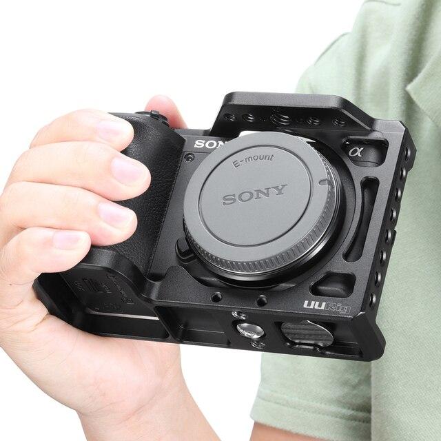 UURig Aluminium Kamera Käfig für Sony A6600 mit 1/4 3/8 Gewinde Loch zu LED Licht, Mikrofon Top Griff Monitor