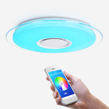 купить Modern LED Ceiling Light Bluetooth Speaker APP Control RGB Dimming Bedroom Living Room Kitchen Children Room Light Ceiling lamp по цене 3282.61 рублей