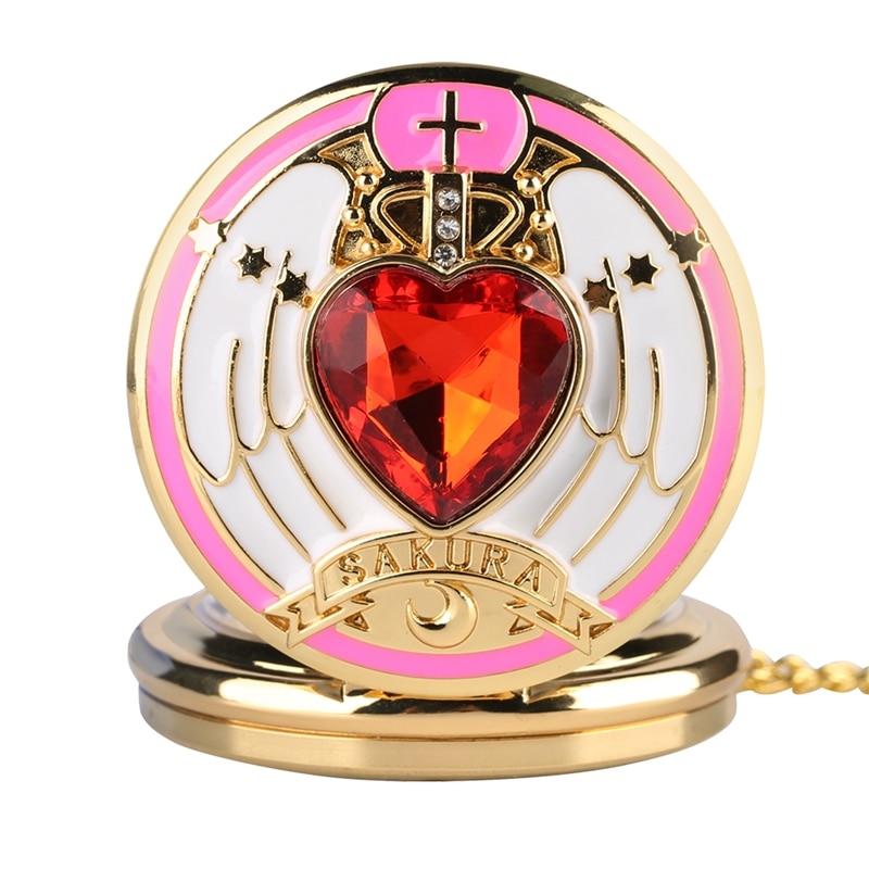 Magic Rhinestone SAKURA Japanese Anime Sailor Moon Quartz Pocket Watch Heart Necklace Pendant Gifts For Girls Student Women Kids