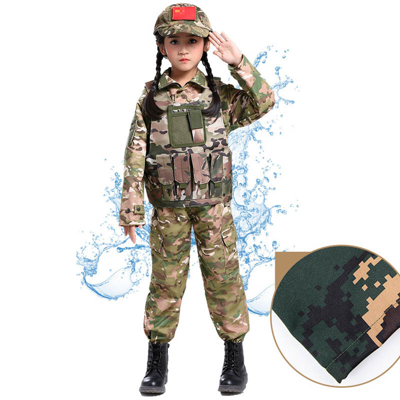 Special Forces Camouflage Suit For Kids Costume Boy Officer Cosplay Tactical Girl Stage Clothing Military Halloween Disguise