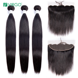 Volys Virgo Straight Hair Bundles With Closure Peruvian Hair Bundles Human Hair Remy Lace Frontal Closure With Bundles 3 pcs