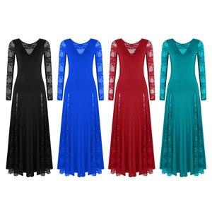 Image 2 - セクシーなレース社交ダンスドレス女性長袖ワルツタンゴダンスのドレス標準社交ドレス黒/赤/ ブルー/グリーン
