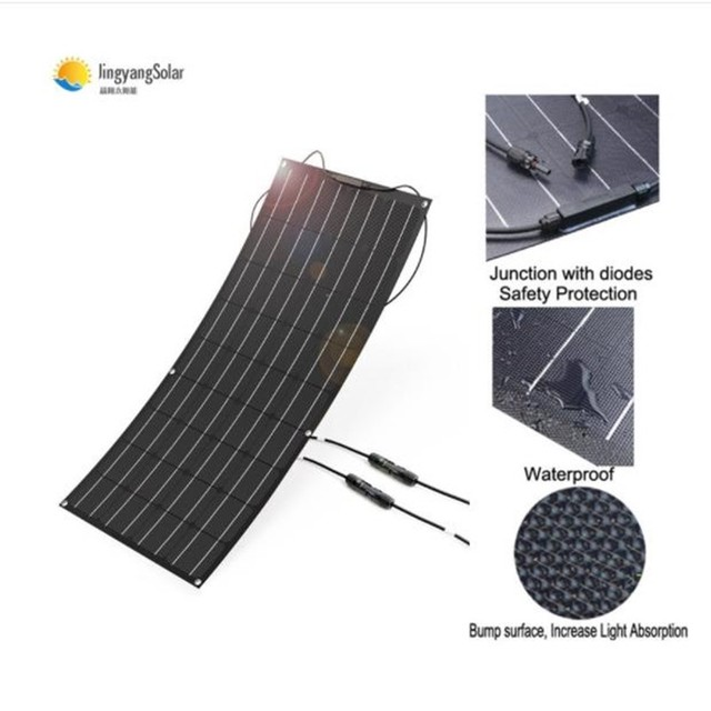 solar panel 100w 200w, flexible solar panel made of ETFE material, ETFE flexible solar panel for 12V battery charger 4
