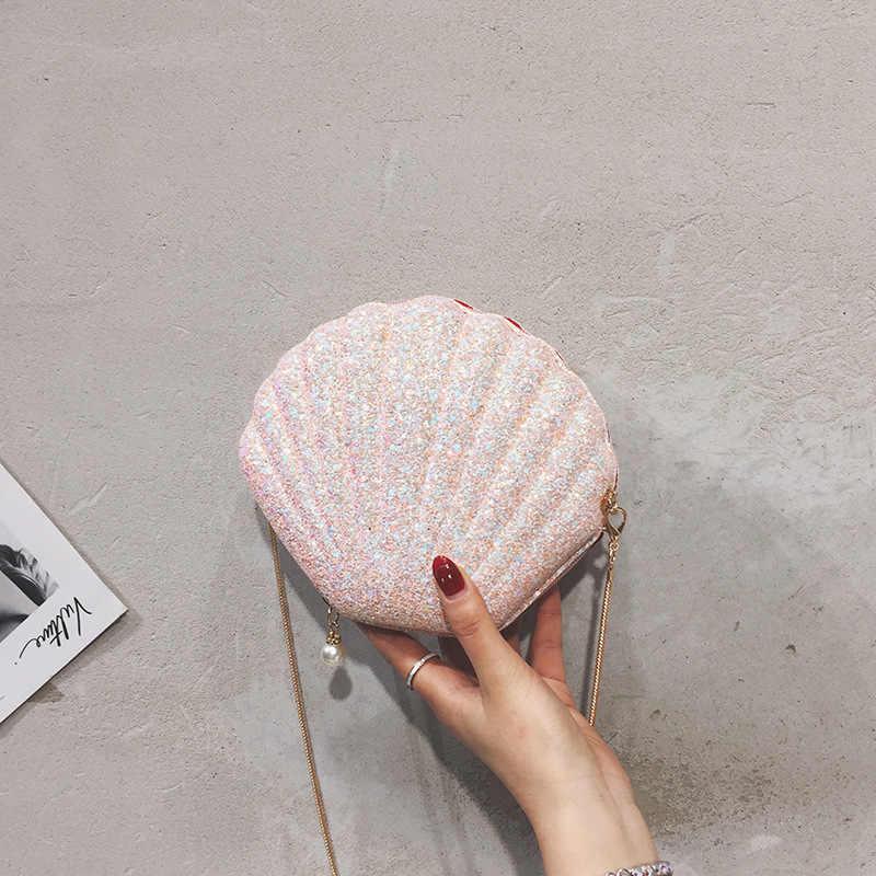 DALFR coquille sac 2019 mode fourre-tout sacs pour dames chaînes paillettes sacs à bandoulière femmes Paryt solide sac à bandoulière