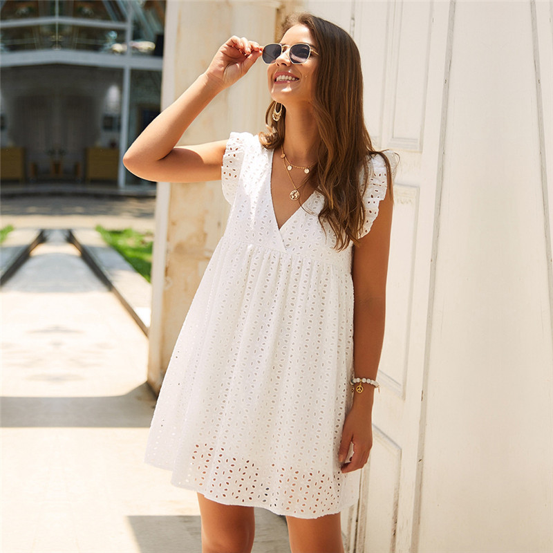 Solid Hollow Out  Short Dress Women New Sexy V Neck Butterfly Sleeve Hollow Lace Dress Casual Loose Summer Women Dress 5