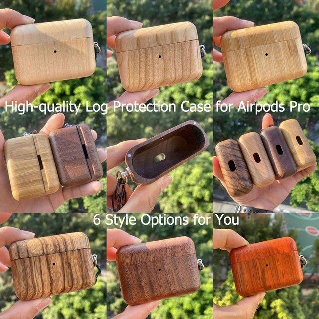 6 色優れたログ高品質 Airpods プロ保護カバー Airpods3 ヘッドセット木製ため Airpods プロ 3 光