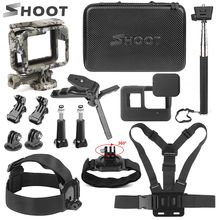 SHOOT for Go Pro Accessories Side Open Protective Frame Case GoPro Hero 7 Black 6 5 Camera Chest Head Strap Set