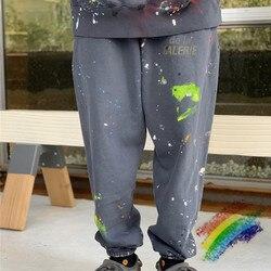 Женские и мужские спортивные штаны с ручными брызгами чернил, винтажные спортивные штаны с 1:1, высокое качество