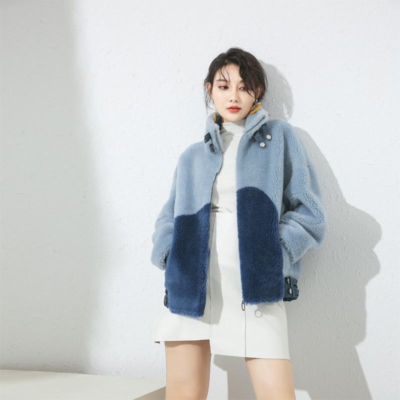 100% Sheep Shearing Coats Women Winter Warm Fur Outwear Overcoat 2020 New Long Real Fur Coat Female Jacket Abrigo Mujer 19015