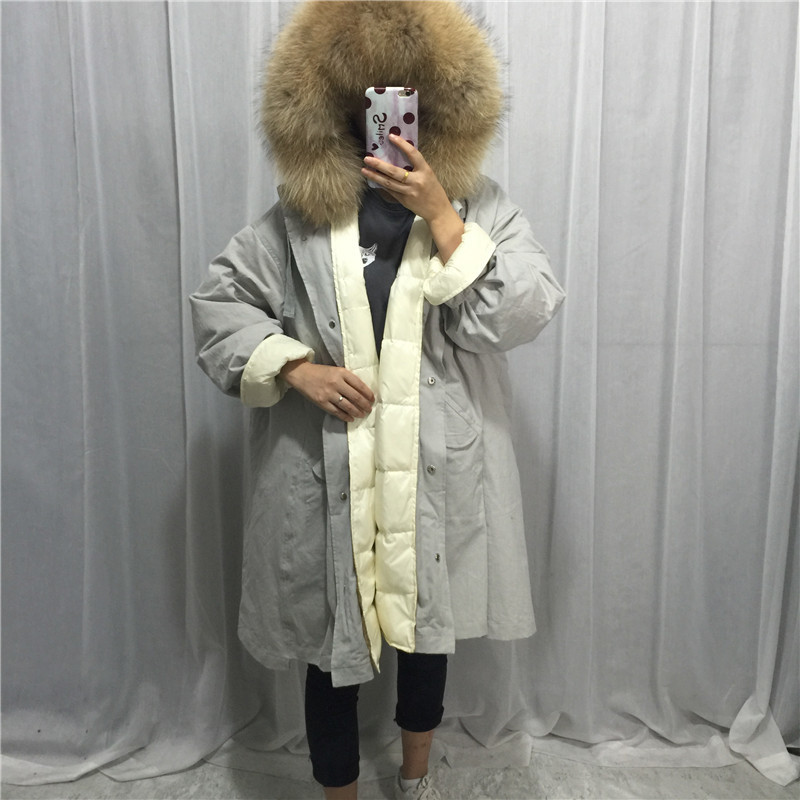 90% White Duck Down Jacket Women Winter Warm Hood Natural Raccoon Fur Colllar Overcoat Female Long Parka Chaqueta Mujer LX2580