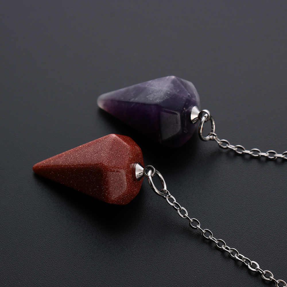 1PC 六角ピラミッドレイキ振り子ペンダント天然石ヒーリングクリスタルお守りファッションジュエリーアクセサリー