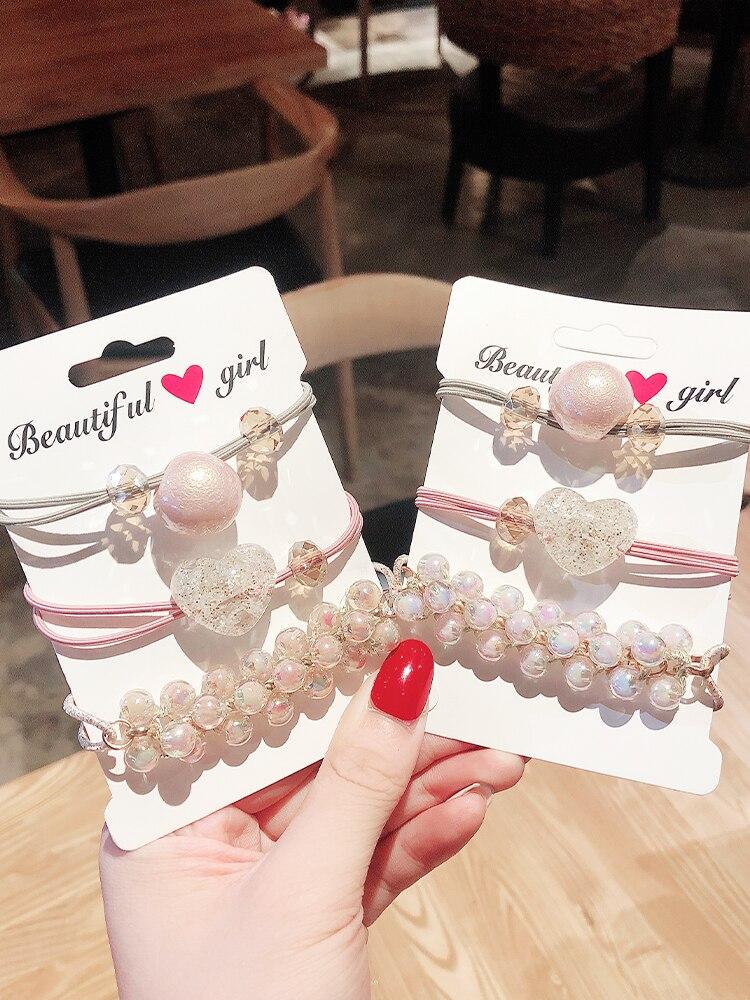 3PCS/Set New Women Girls Luxury Pearls Acrylic Shining Elastic Hair Bands Headbands Scrunchies Hair Rubber Band Hair Accessories