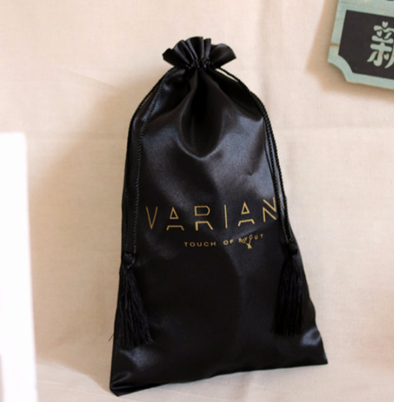 Satin Bags For Packaging Jewelry/Makeup/Gift/Wedding/Party/Storage/Hair Bundles/Wigs/Shoe Bag Silk Cloth Pouch Custom Logo 50p