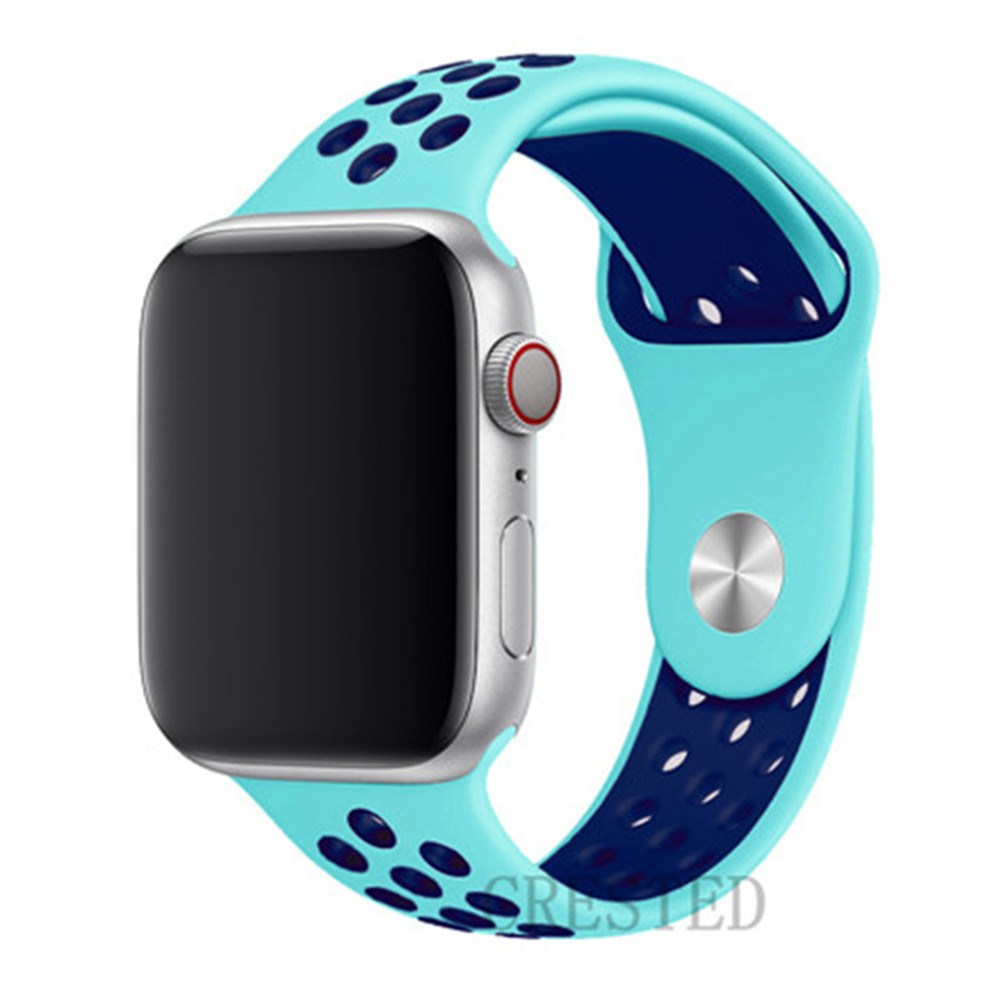 Спортивный ремешок для apple watch band 44 мм/40 мм apple watch 5 4 3 band iwatch band 5 42 мм/38 мм correa браслет ремень аксессуары для часов - Цвет ремешка: green blue 9