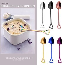 Shovel Tableware Coffee-Spoon Spoon-Design Ice-Cream Stainless-Steel Silver Small Gold-Plated