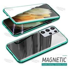 360กันกระแทกเต็มรูปแบบสำหรับ Samsung Galaxy S21 Ultra การดูดซับแม่เหล็กโลหะสำหรับ Samsung S20 FE 4G 5G Plus Shell