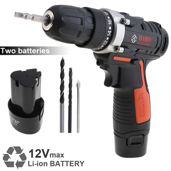 AC 100-240V Cordless 12V Electric Drill/Screwdriver with 2 Li-ion Batteries and Two-speed Adjustment Button for Handling Screws voto ac 100 240v cordless 12v electric drill screwdriver with adjustment switch and two speed adjustment button for punching