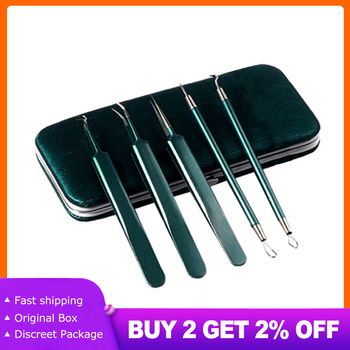 5PCS/set Acne Remover Needles Blackhead Remover Pimples Squeeze Extractor Set Blemish Skin Care Face Cleaner Removal Tools