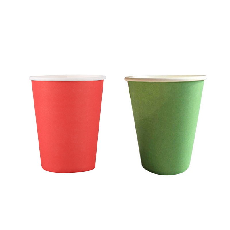 40Pcs Paper Cups (9Oz)   Plain Solid Colours Birthday Party Tableware Catering   20Pcs Green & 20Pcs Red|Disposable Cups| |  - title=