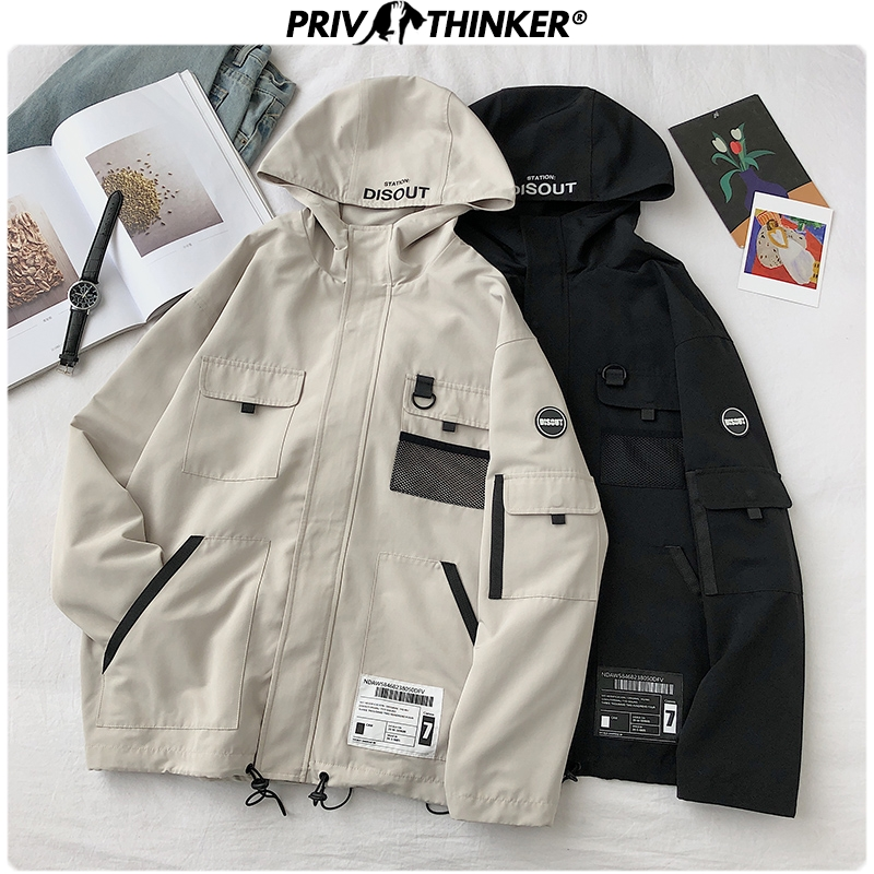 Privathinker 2020 Spring Safari Style Jackets Men Streetwear Hooded Coats Mens Jacket Coat Fashion Male Black Harajuku Clothing