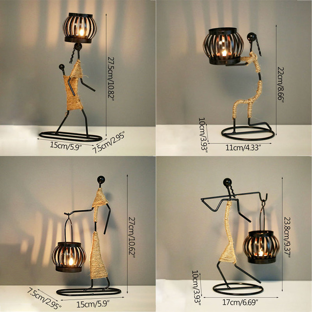 Strongwell Nordic Metal Candlestick Abstract Character Sculpture Candle Holder Decor Handmade Figurines Home Decoration Art Gift 6