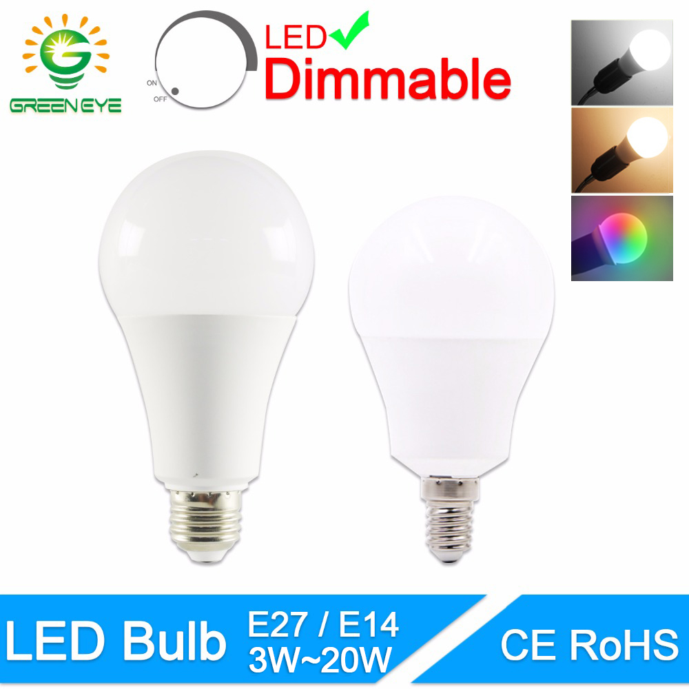 GreenEye LED Bulb Dimmable Lamps E27 E14 220V 240V Light Bulb Smart IC Real Power 20W 18W 15W 12W 9W 5W 3W Lampada LED Bombilla