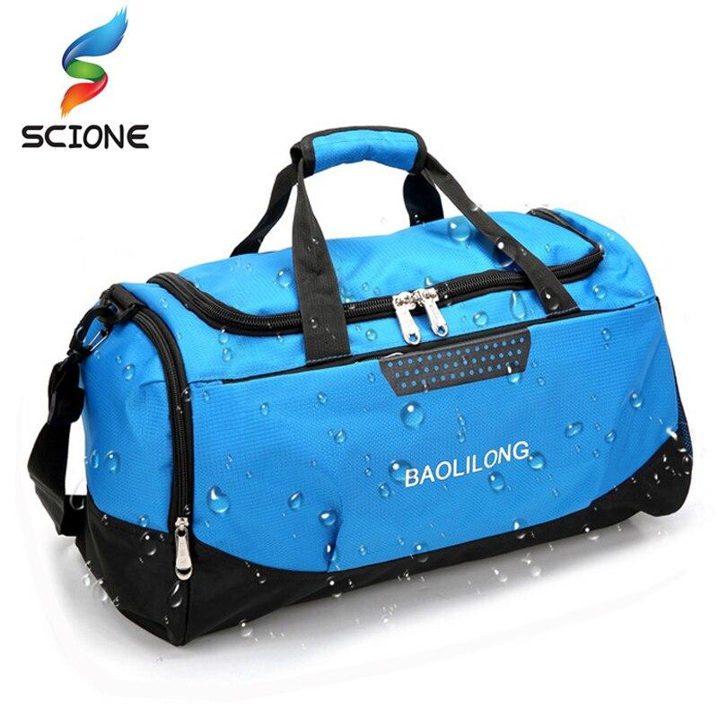 Bolsa de gimnasio deportiva grande con bolsillo para zapatos para hombre/mujer, bolsa de lona impermeable para entrenamiento físico, bolsa de viaje para Yoga