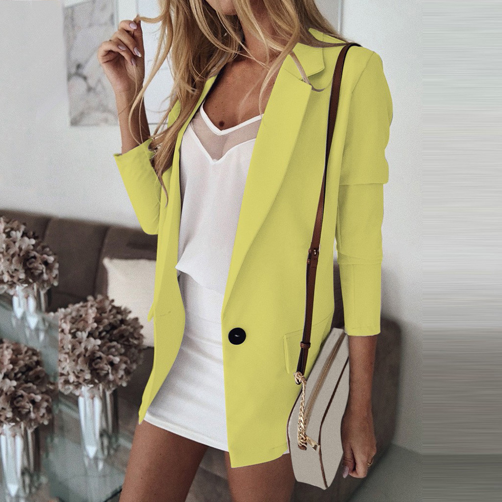 Casual Blazer Women Basic Notched Collar Solid Blazer Pockets Tops Office Ladies Single Button Suit Jackets Plus Size