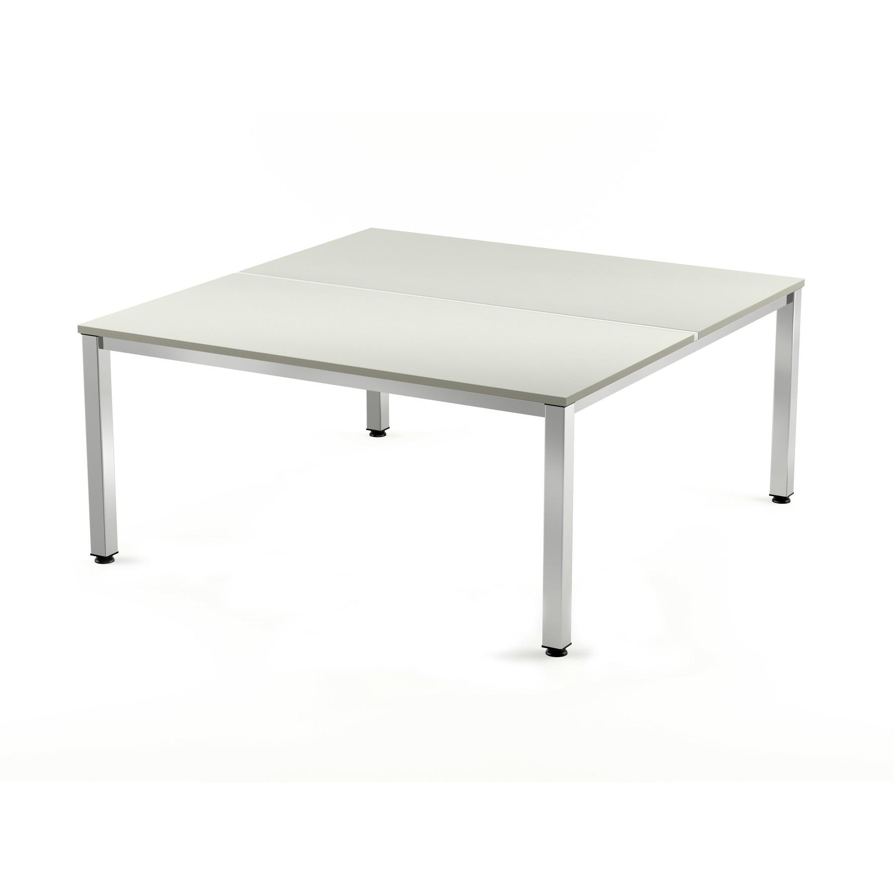 TABLE DE OFFICE DOUBLE EXECUTIVE SERIES 180X163 CHROME/GREY