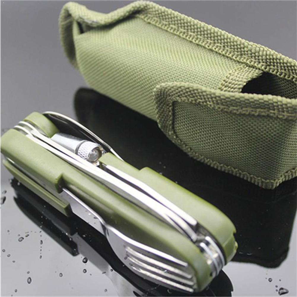 Camping&HikingTool Outdoor Tableware With Led Light Fork Folding Dinnerware Opener Steel Knife Stainless Bottle Spoon Set P9D9