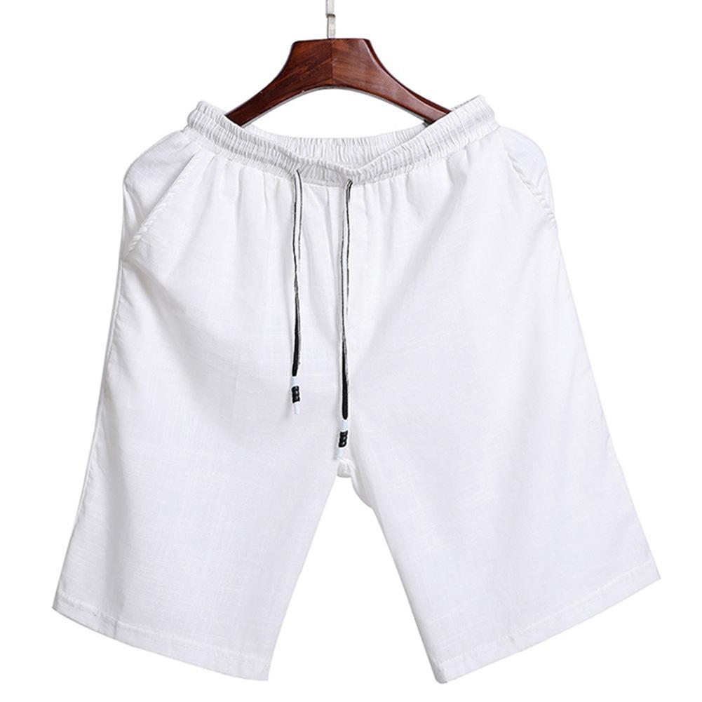 MISSKY Men Summer Beach Shorts Cotton Linen Solid Color Elastic Waist Drawstring Plus Size Shorts M-5XL