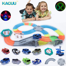 2018 Magical Racing track Glow in the dark DIY Universal Accessories Ramp Turn Road Bridge Crossroads Glowing Race Track magic track mini racing car race cars track luminous road slot glow in the dark stunt railroad flexible glowing toys for boys