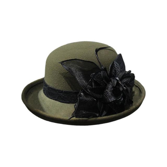 ZOOMY Women Retro Faux Felt Wide Brim Bucket Hat Elegant Solid Color Detachable Feather Flower Wedding Church Winter Autumn Bowler Cap Navy