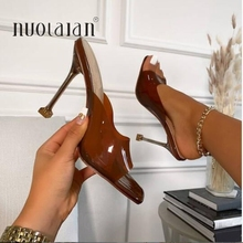 Summer Women sandals Sexy Transparent Heel Slippers Sandal Shoes Woman Thin High Heels Square Toe Sandal Lady Pump Shoes Mules