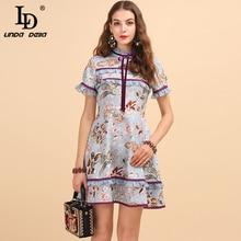 LD LINDA DELLA Fashion Runway Summer Elegant Vintage Dress Womens Sweet Ruffled Floral Print Ladies Stylish A-Line Mini Dresses