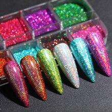 1 коробка голографический блеск для ногтей лазерный Блестящий УФ-Гель-лак для ногтей порошок с зеркальным эффектом пыль хромовый пигмент ук...