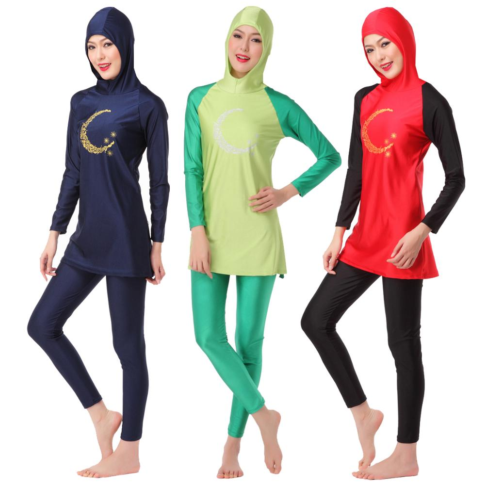 Full Body Modest Hijab Swimsuit Cap Muslim Womens Plus Size Swimwear Long Sleeve Casual Bathing Suit S-XXXL