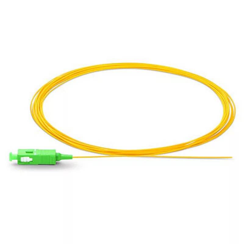 1.0m SC APC Fiber Pigtail Simplex 9/125 G657A Single Mode Fiber Optic FTTH Pigtail