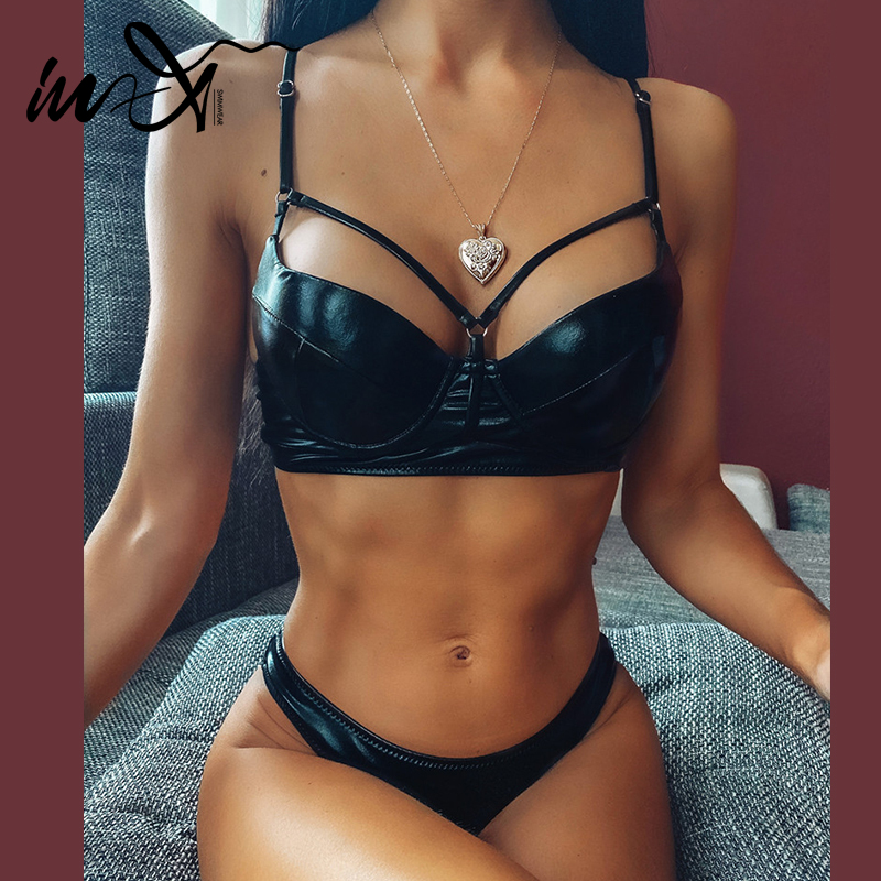 In-X Sexy Black Leather Bikinis 2020 Mujer Push Up Swimwear Women Summer Bathers Bandage Swimsuit Female Bathing Suit Bathers