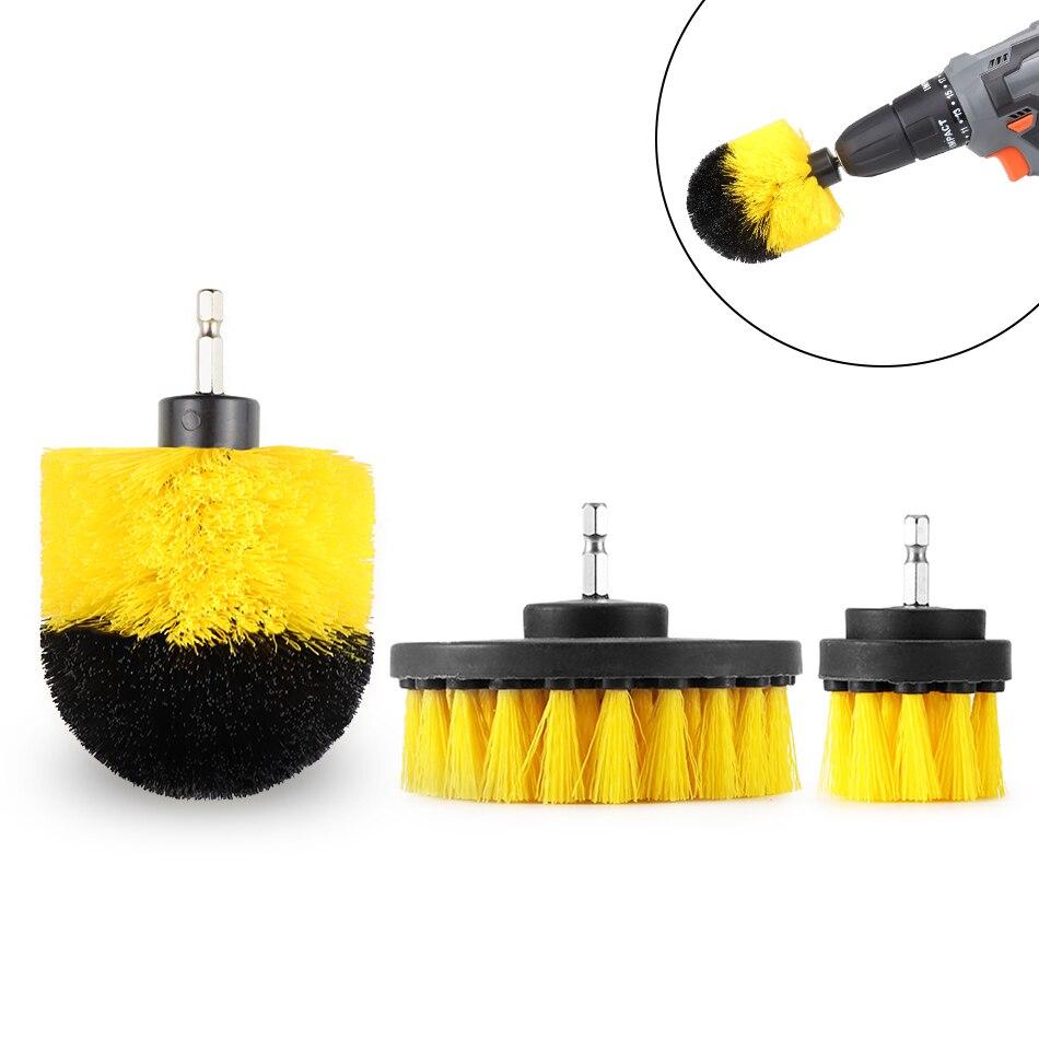 Perceuse électrique brosse électrique de 2/3, 5/4 pouces, épurateur électrique, poils jaunes à rigidité moyenne, salle de bains et douche, nettoyage, anti-rayures