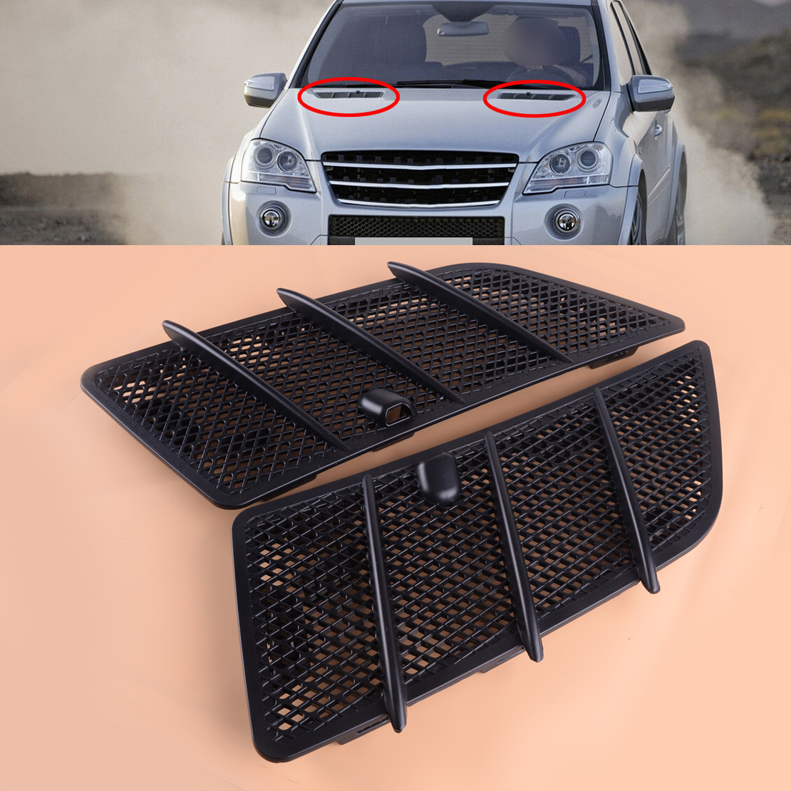 Car Pair Right & Left Front Bonnet Hood Air Vent Grille Mesh w/ Washer Nozzle Cover fit for Mercedes W164 ML350 ML550 2008-2011