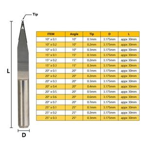 Image 2 - 10pcs 10/15/20/25 Degrees PCB Engraving Bit V Shap Tip End Mill Tungsten Carbide PCB 3D Milling Cutter