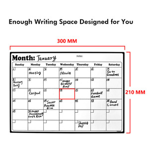 A4 Whiteboard Dry Erase Heavy Duty Magnetic Monthly Refrigerator Calendar Durable Made From Highest Quality Surface Material