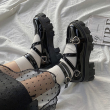 Sweet Lolita Shoes Platform Round Head Thick Heel Cross Bandage Women Shoes Kawaii Shoes Cosplay Mary Jane Shoes Heart Buckle