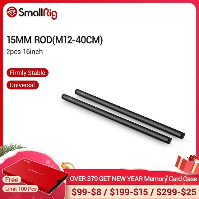 SmallRig 2pcs 15mm שחור אלומיניום סגסוגת מוט (M12 40cm) 16 אינץ מוט לייצוב תמיכת Rig/חצובה אבזרים 1054