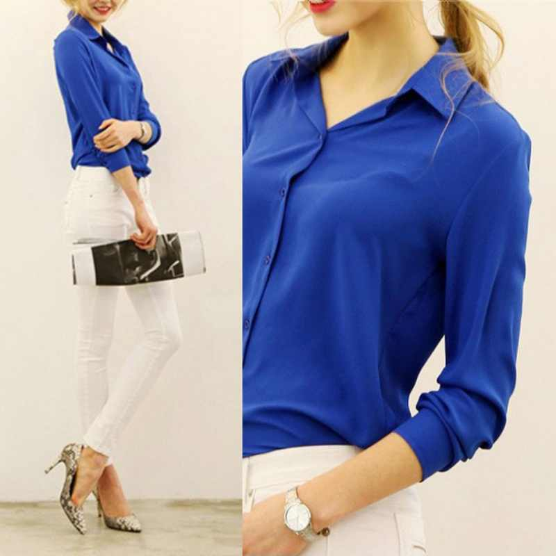 2019 Spring New Women's 5 Solid Color Large Size Casual Long Sleeve Shirt Chiffon Soft Ladies Vintag Business Clothing Blouses -